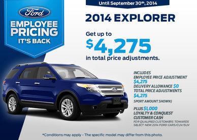 2014 Ford Explorer - Get up to $4,275 in rebates!