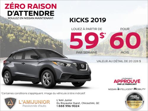 Louez le Nissan Kicks 2019 dès aujourd'hui!