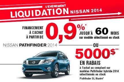 Nissan Pathfinder 2014 avec jusqu'à 5000$ de rabais!