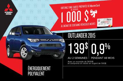 Le nouveau Mitsubishi Outlander 2015 en location à compter de 139$ aux 2 semaines