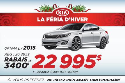 Achat à partir de 22 995$ de la nouvelle Kia Optima 2015