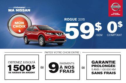 Nissan Rogue 2015 à seulement 59$ par semaine