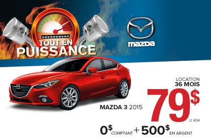 La nouvelle Mazda 3 Berline 2015 à aussi peu que 79$ aux 2 semaines!