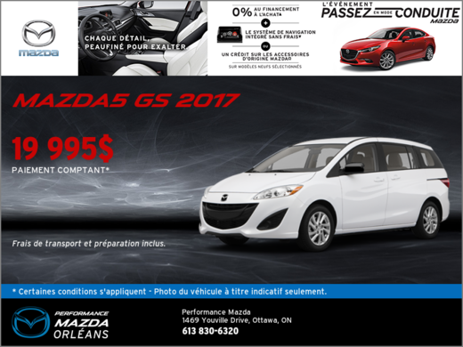 La Mazda5 GS 2017 chez Performance Mazda à Ottawa