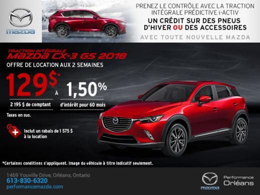 Obtenez la Mazda CX-3 2018 aujourd'hui! chez Performance Mazda à Ottawa