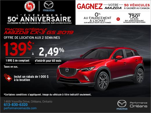 Procurez-vous le Mazda CX-3 2019 aujourd'hui! chez Performance Mazda à Ottawa