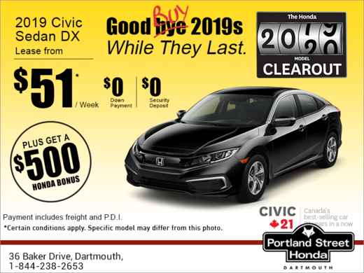 Honda Civic Lease >> Lease The 2019 Honda Civic Sedan Portland Street Honda