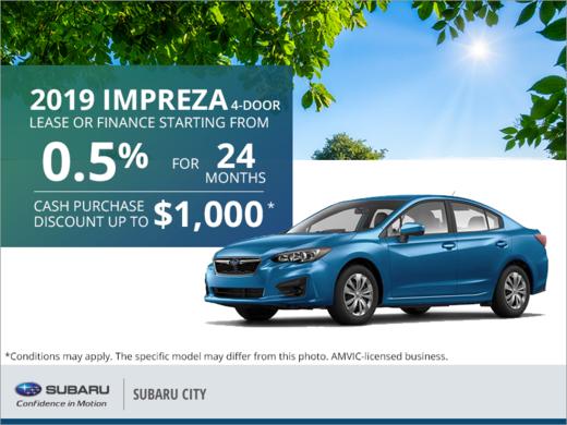 Get the 2019 Subaru Impreza 4-Door Today!