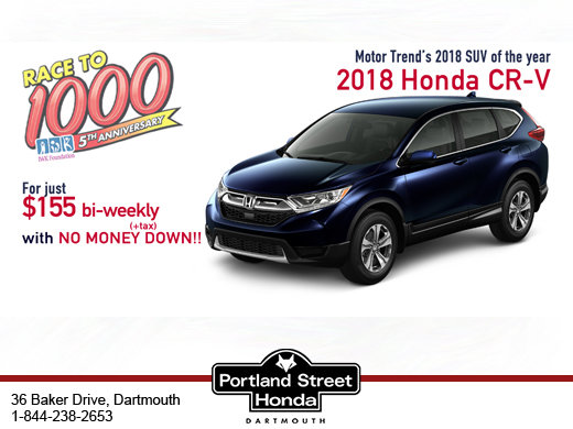 The Award-winning 2018 CR-V for  just $155 bi-weekly