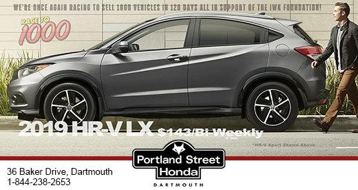 2019 Honda HRV LX at $143 bi-weekly +tax