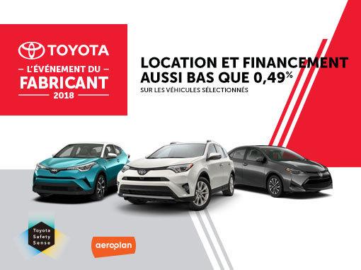 L'Événement du Fabricant 2018 chez Spinelli Toyota