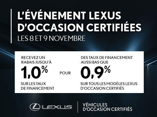 L'Événement véhicules d'occasion certifiés Lexus