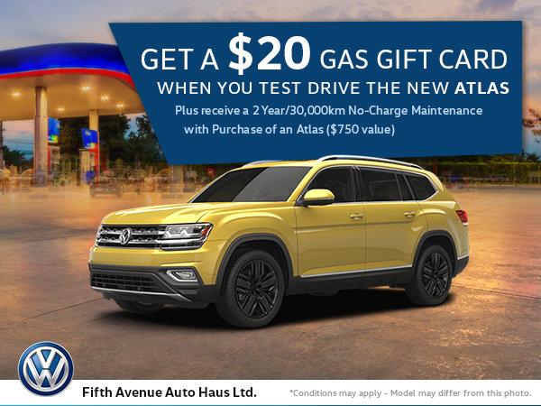 Test Drive an Atlas, Get a Gas Gift Card!