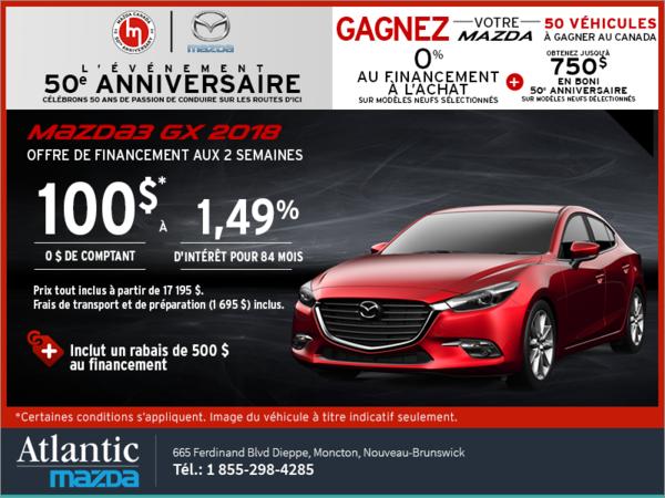 Procurez-vous une Mazda3 2018 aujourd'hui!