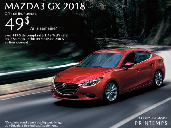 Procurez-vous la Mazda3 2018 aujourd'hui!