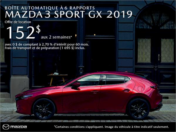 Procurez-vous la Mazda3 Sport 2019 aujourd'hui!