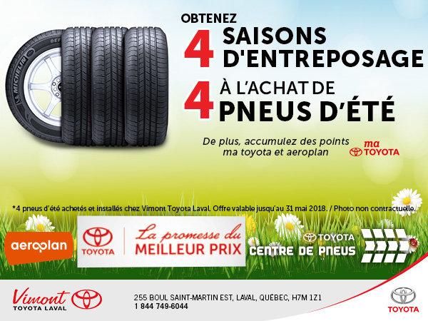 4 saisons d'entreposage à l'achat de 4 pneus d'été