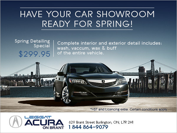 Enjoy Acura on Brant's Spring Detailing Special!