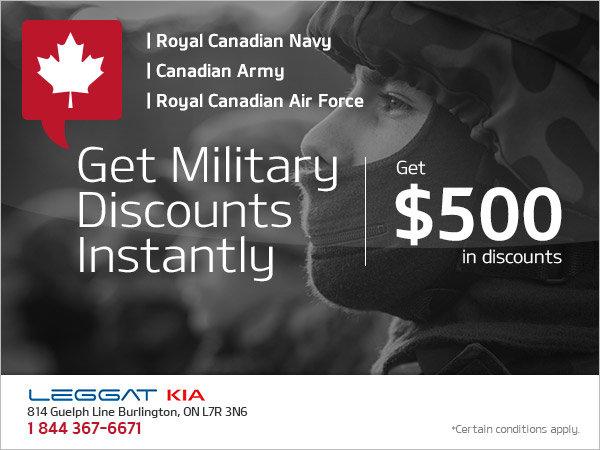 Leggat Kia's Military Discount