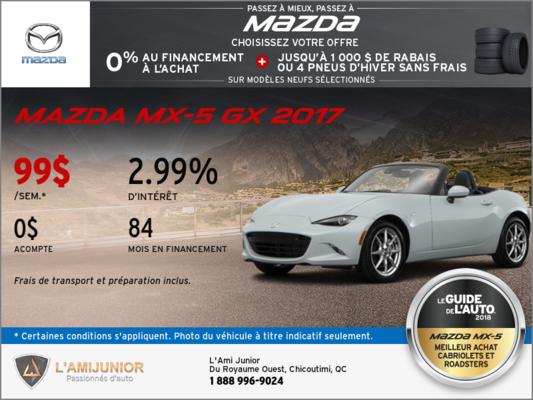 Obtenez la toute nouvelle Mazda MX-5 GX 2017