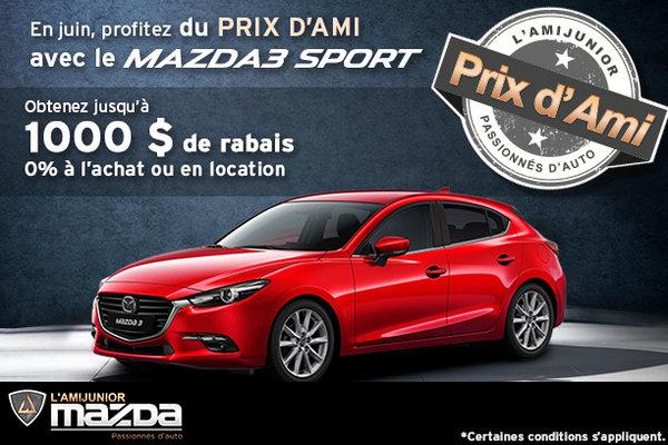 Prix d'ami avec le Mazda3 Sport 2017