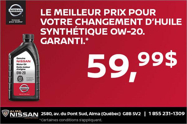 Changement d'huile à 59,99$