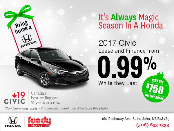 Drive Home the 2017 Honda Civic Now!