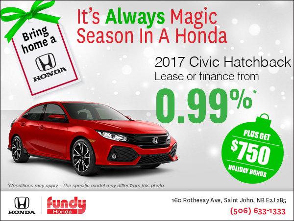 Drive Home the 2017 Honda Civic Hatchback Now!