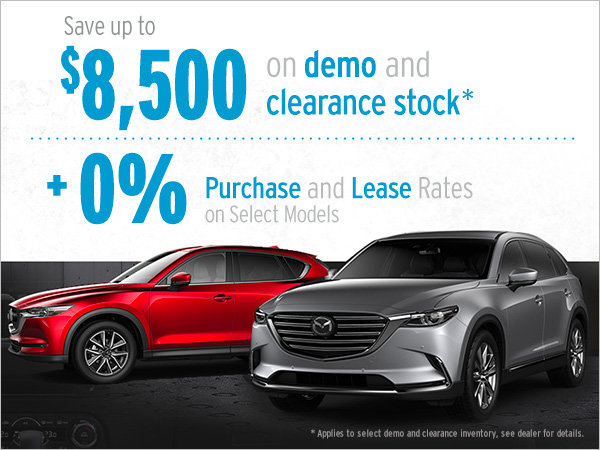 $8,500 in Savings on Demo and Clearance Stock! + 0% Financing on select models!