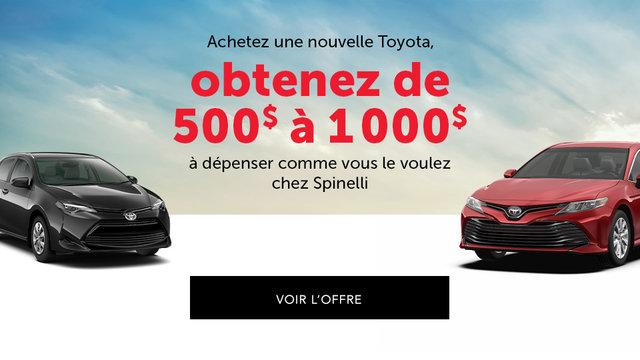Jusqu'à 1000$ de rabais à l'achat d'une nouvelle Toyota (mobile)