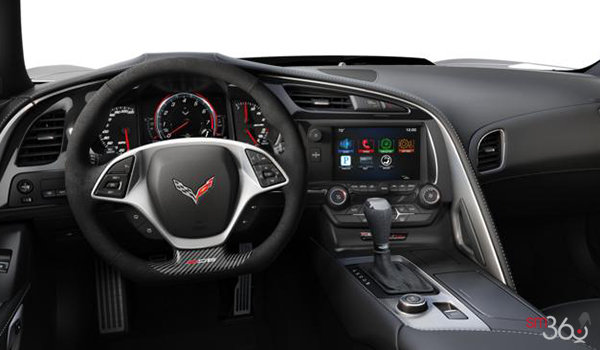 2018 Chevrolet Corvette Coupe Z06 1LZ   Photo 2   Jet Black Competition Sport buckets Leather seating surfaces with sueded microfiber inserts (192-AE4)