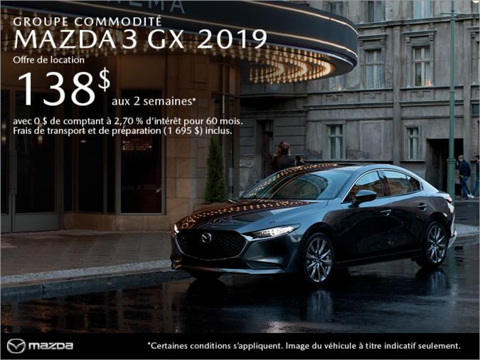 Procurez-vous la Mazda3 2019 aujourd'hui!
