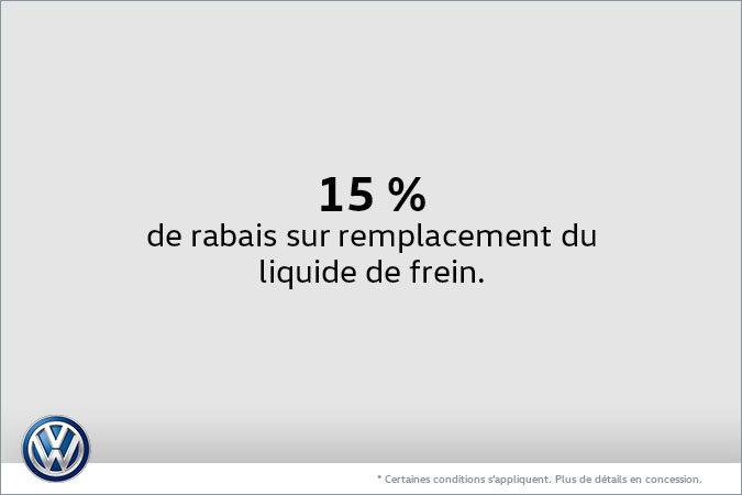 15% de rabais sur remplacement du liquide de frein