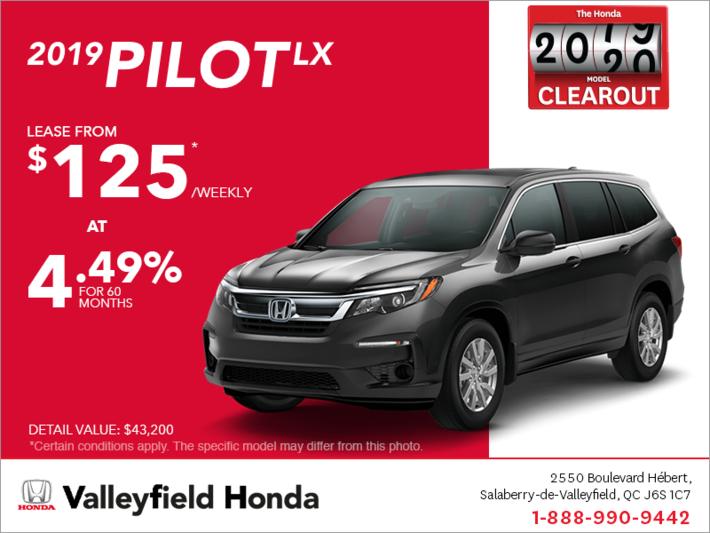 Honda Pilot Lease >> Lease The 2019 Honda Pilot Valleyfield Honda