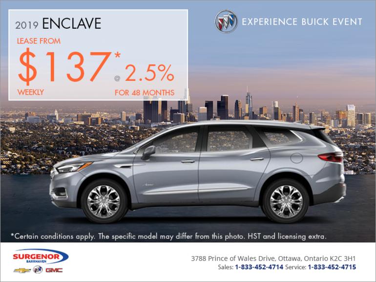 Buick Enclave Lease >> Lease The 2019 Buick Enclave Surgenor Barrhaven