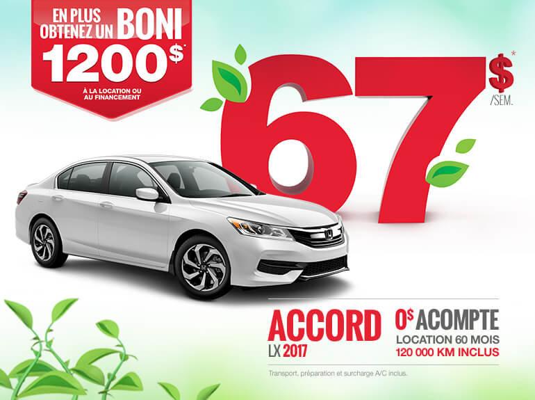 La nouvelle Honda Accord 2017 en rabais!